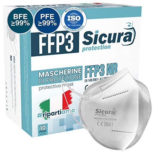 10 Mascherine Protettive FFP3 Certificate CE. Made in Italy. BFE...