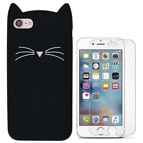 Hcheg 3D Silicone Protective Case Cover for Apple iPhone 7/8 Cover cat Design Black Case Cover + 1X Screen Protector