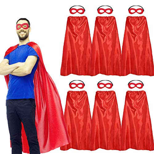 Superhero-Capes and Masks for Adults Bulk, Super Hero Dress Up Costume for Men Role Play Party Favors, 7 Pack (Red)