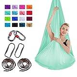 'N/A' Suite de Hamaca de Yoga de Lujo, Columpio de Yoga de Seda aéreo avanzado, flexibilidad Femenina y Mejora de la Fuerza del núcleo, Yoga antigravedad(Color:Verde Claro)