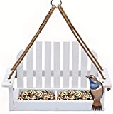 Solution4Patio Homes Garden White Swing Adirondack Chair Bird Feeder Cute, Metal Mesh Bottom for Outside Backyard Porch Decorative, Bench Wooden Bird Feeder Wild Bird Essentials, #G-8455