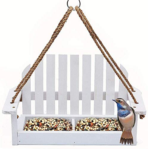 Solution4Patio White Swing Wild Bird Feeder for Outside, Metal Mesh Bottom, Cute Bench Bird Feeder or Squirrel Feeder for Yard, Porch Decoration, Large Capacity, Easy to Fill & Clean, #8455