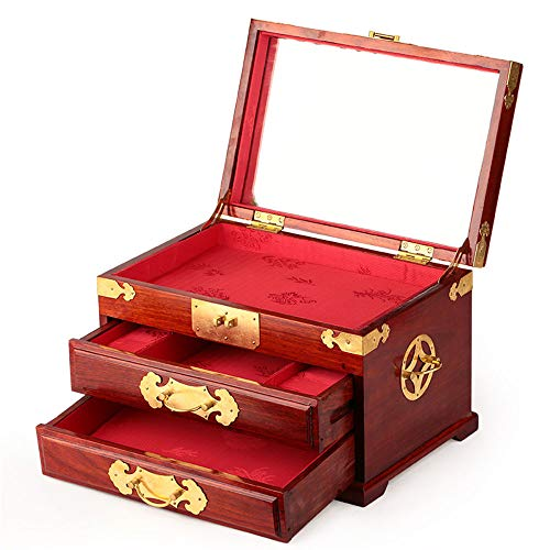 Laogg Chinesische Schmuckschatulle,Schmuckkästchen, Mahagoni mit Spiegel Schmuck Schrank mehrschichtige Schublade Geschenk Kupfer Schloss Schmuck Aufbewahrungsbox,Chinesische Hochzeit Aufbewahrungsbox