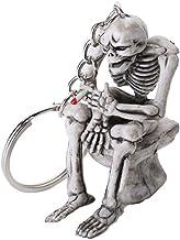 Generic Halloween Schedel Skelet Sleutelhanger Metalen Schedel Zittend Op Toilet Sleutelhanger Siliconen Rubber Sleutelhan...