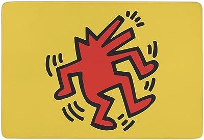 キース・ヘリング カーペット ラグマット ラグ 絨毯 夏用 床暖房対応 Rokoo 洗える 滑り止め付 防ダニ 抗菌 防臭 ふわっと手触り おしゃれ 優しいフランネルラグ キャラクター(100×150cm)