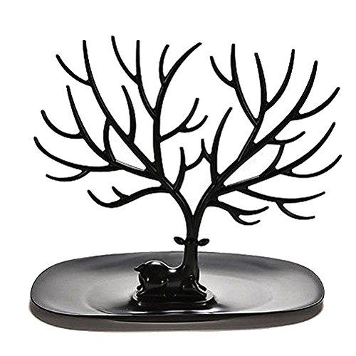 Oulii Portagioie decorativo per braccialetti, collane, gioielli, motivo: albero con corna di cervo, colore: nero