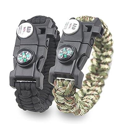 KEVENZ Tactical Paracord Bracelet – Fire Starter, Emergency Knife & Whistle – Pack of 2 - Slim Buckle Design ?Black+Camo