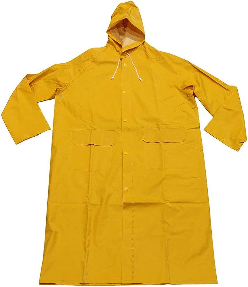 Heavy Duty PVC Rain Trench Coat- YUC01H Rain Coats for Men and Women Waterproof work with Hood for Wet Work Conditions