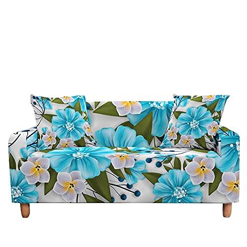 WXQY Funda de sofá con Estampado Floral Funda de sofá de Hoja Floral elástica Funda de sofá Todo Incluido Antideslizante Moderna elástica A12 4 plazas