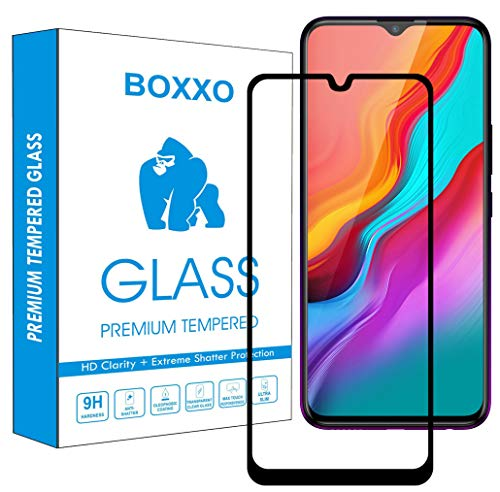 Boxxo Screen Protector for Infinix Hot 8 [Tempered Glass Guard with Edge to Edge Protection] [Gorilla] [Full Coverage] Easy Installation [Anti FingerPrint] - Black