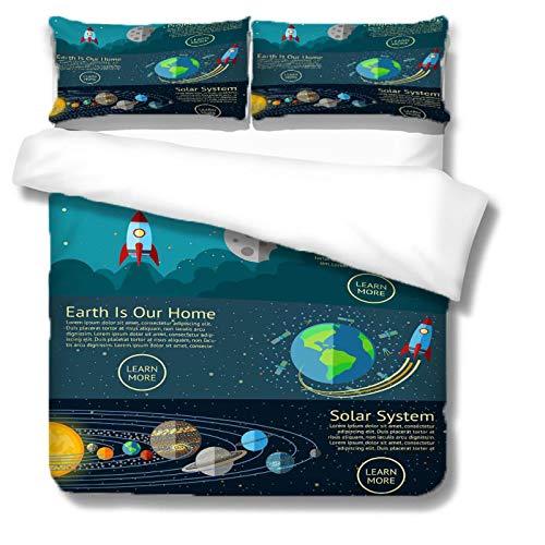 MENGBB Bedding Duvet Cover Set 3D Print Cartoon space rocket - 79' x 79' Total 4 Size, give away pillowcase, Fashion Duvet Cover Bedding Set - Duvet Cover and Pillowcase Microfibre 3D Digital Print Th