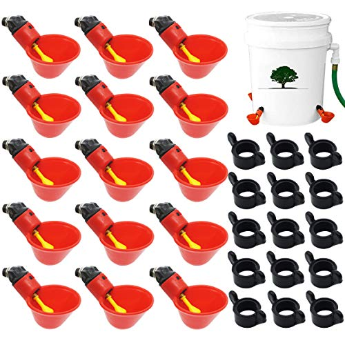 Jyongmer 15Pcs Fully Automatic Poultry Drinking Machine Chicken Drinking Cup,Chicken Water Nipple Drinker Feeders Waterer, Poultry Drinking Machine for Chicken Quail Pigeon