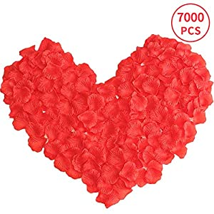 7000 Piezas Pétalos de Rosa Rojos Petalos Artificiales para Bodas Decoración, Fiestas, día de San Valentín y Ambiente…