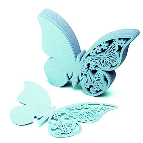 50x Milopon Weinglas Karte Tischkarten Platzkarten Papier Namenskärtchen Schmetterlinge Tischkärtchen für Hochzeiten Partys (Blau)