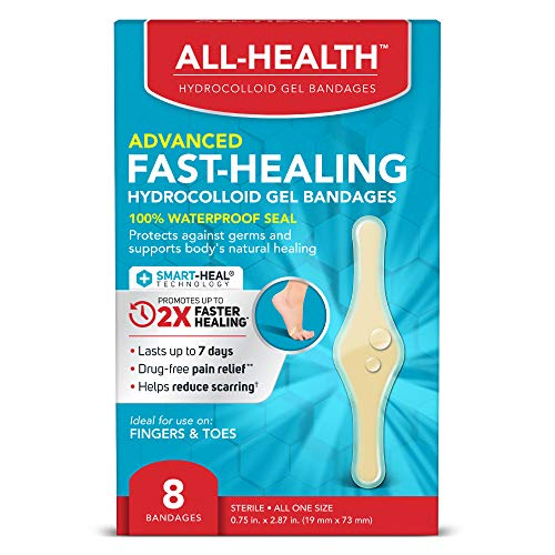 All Health Advanced Fast Healing Hydrocolloid Gel Bandages, Fingers & Toes, 8 ct | 2X Faster Healing for First Aid Blisters or Wound Care
