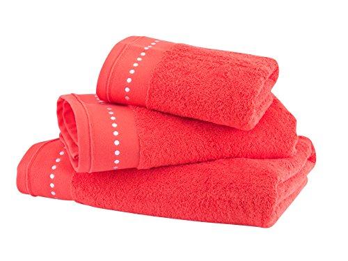 BLANC CERISE Serviette de Toilette - Coton peigné 600 g/m² - Unie Corail 050x100 cm