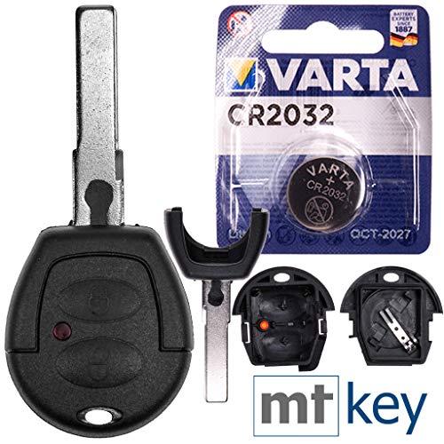 Autoschlüssel Funk Fernbedienung Austausch Gehäuse mit 2 Tasten + HAA / HU66 Rohling + Batterie kompatibel mit VW Lupo Fox Sharan T4 Seat Arosa Ibiza Leon Alhambra