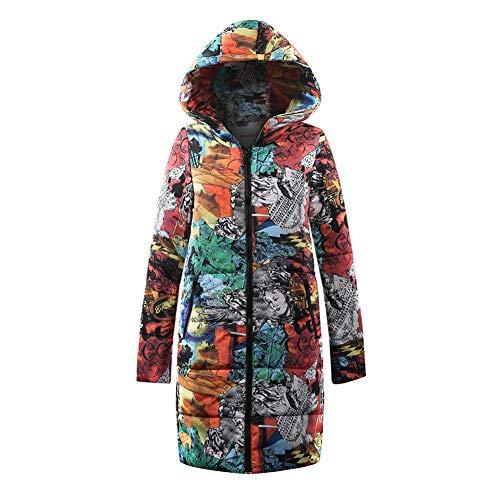 WODENINEK Winter Lange Down Jas Retro Stijl afdrukken Mode Bont Kraag Vrouwen Losse Houd Warm Jas