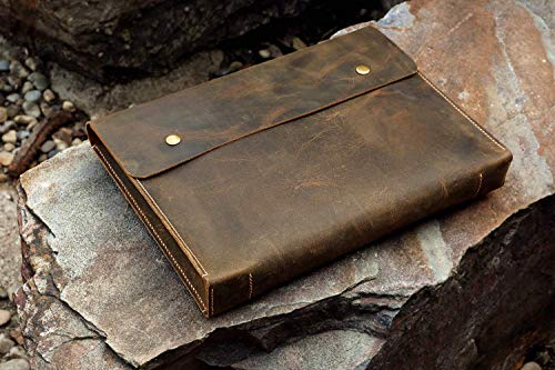 Personalized vintage leather document holder case folder,A4 / letter size leather paper file case organizer portfolio - DH05S
