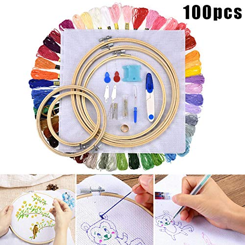 10 Pack Embroidery Hoops 8 Inch Round Embroidery Frames Adjustable Bamboo Circle Cross Stitch Hoop for DIY Art Craft Handy Sewing
