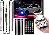 Luces de iluminación para coche 4 piezas Sincronización musical Color de ensueño Luces LED para chasis de coche Kit de iluminación de neón para coches Bluetooth Impermeable bajo luces LED para coche