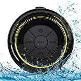Altavoz Bluetooth Ducha Impermeable, Waterproof Bluetooth Speaker with FM Radio, Copa de succión dedicada, Mic incorporado, Hands-Free Speakerphone Para HuaWei, Samsung, Nexus, HTC, iPhone y iPad
