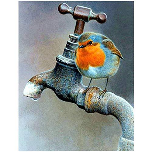 Diy Diamante Pintura 5D Gorrión Retro Redondo Grifo De Agua Y Colorido Pájaro Bordado Punto De Cruz Costura 50x60cm