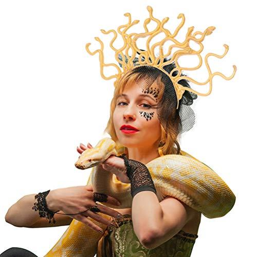 Amosfun Diadema de serpiente Halloween Cosplay Accesorios para el cabello Golden Snake Hair Bandas para mujer