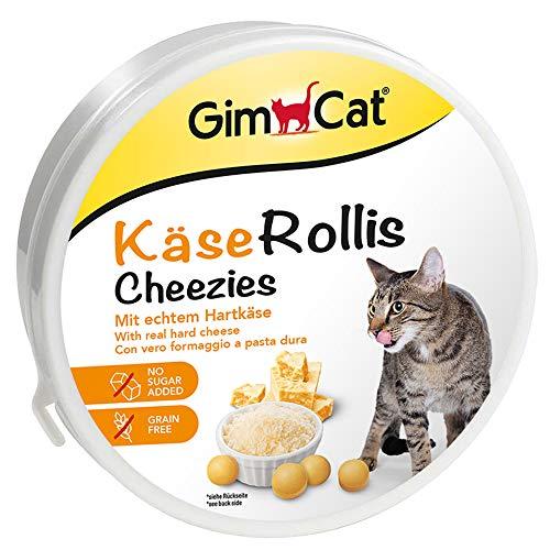 GimCat Käse Rollis - Getreidefreier und vitaminreicher Katzensnack mit echtem Hartkäse