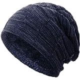 Compagno warm gefütterte Beanie Wintermütze Flechtmuster unifarben oder meliert Einheitsgröße Mütze, Farbe:Marineblau meliert
