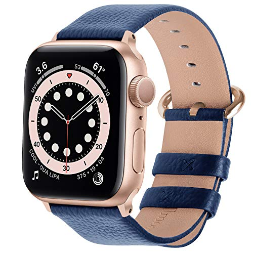 Fullmosa kompatibel mit Apple Watch Armband 44mm 42mm 40mm 38mm Series SE/6/5/4/3/2/1, Leder Ersatzarmband für iwatch original Band,42mm Dunkelblau+Rosegold Adapter