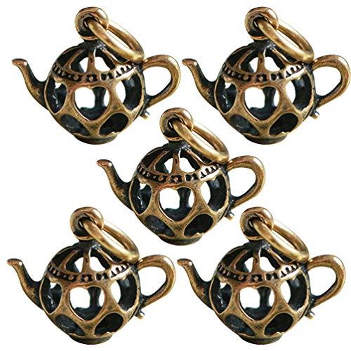 Exceart 5 Stks Theeketel Charm Hanger Holle Hart Theepot Losse Spacer Kralen Collector Voor DIY Armband Ketting Sieraden Maken Benodigdheden (Gouden)