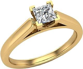 Princess Cut Engagement Rings for women 1/4 carat tw 14K Gold (G, I1)