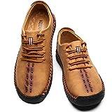 KEENPACE Zapatos Casual para Hombre Plano de Cuero Zapatos de Cordones de Conducción Mano Costuras Marrón 40 EU
