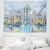 ABAKUHAUS Weihnachten Wandteppich & Tagesdecke, Amsterdam Canal Weihnachten, aus Weiches Mikrofaser Stoff Wand Dekoration Für Schlafzimmer, 150 x 110 cm, Mehrfarbig