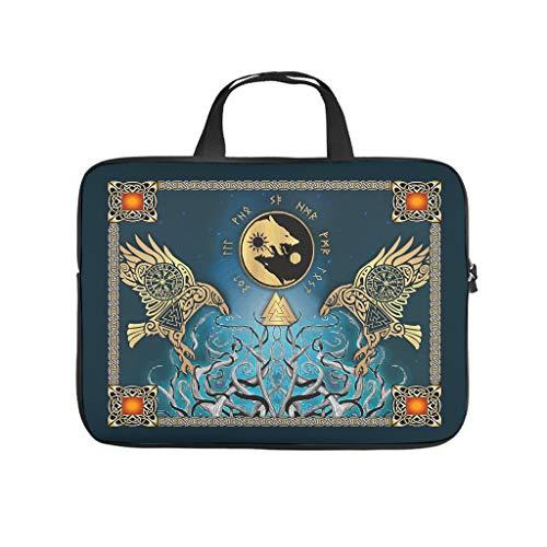 Viking Odin's Ravens and Tree of Life Laptop Bag Waterproof Big Capacity Zipper Basics 10-17 Inch for Boys Girls White 12 Zoll