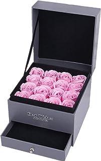 Farantasy造花ファッション美しい現実的な oap ローズフラワージュエリーストレージギフトボックスバレンタイン/母の日ギフト 16Pcs/ボックス造花。