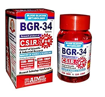 600 BGR-34 TABLETS  6 PACKs  100% NATURAL HERBAL Blood Glucose Metaboliser Research product of C.S.I.R by Artcollectibles India