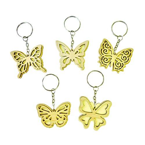 10 Schlüsselanhänger Schmetterlinge aus Holz natur zum Selbst-Gestalten & Bemalen, 45mm
