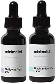 Minimalist Daily Oil-Control AM/PM Duo Serums For Oily Acne Prone Skin | Combo Pack with Niacinamide Serum & Salicylic Aci...