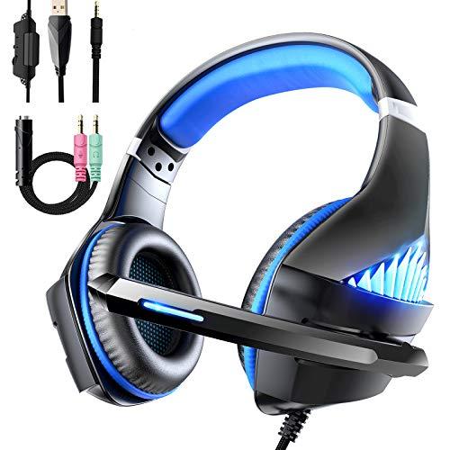 Viixm Cuffie Gaming per PS4 Xbox One, Cuffie da Gaming con microfono e Bass stereo, Microfono Riduzione del Rumore Controllo Volume Confortevole 3,5 mm LED per PC/Nintendo Switch/MAC/Laptop (Nero/Blu)