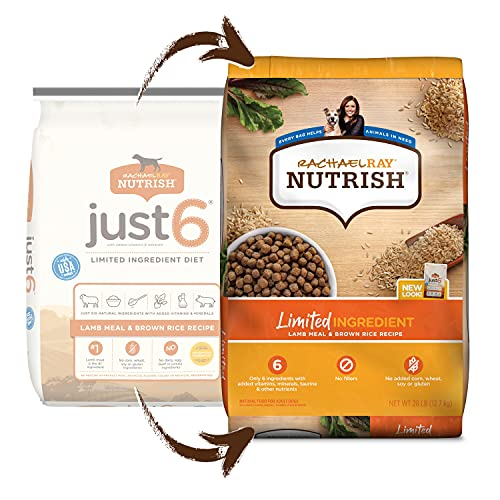 Rachael Ray Nutrish Just 6 Natural Premium Dry Dog Food, Limited Ingredient Diet Lamb Meal & Brown Rice Recipe, 28 Lbs