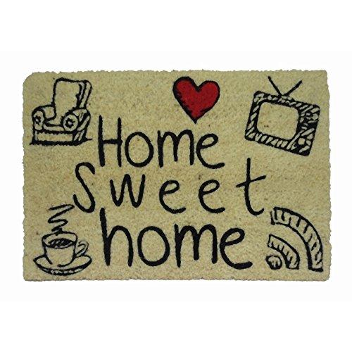 koko doormats Felpudo para Entrada de Casa Original y Divertido/Fibra Natural de Coco con Base de PVC, 40x60 cm (Home Sweet Home