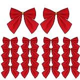 Lot de 120 nœuds en ruban rouge pour sapin de Noël, couronne de Noël, décoration de sapin de Noël, décoration de Noël, décoration de cadeau, 5,5 cm