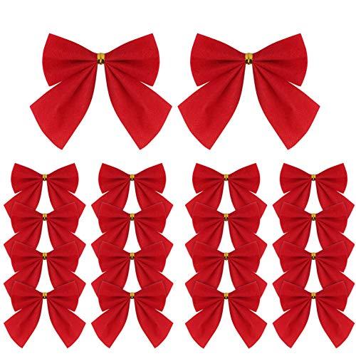 120 Stück Weihnachtsband-Schleifen, rote Mini-Band, Weihnachtsbaum-Dekoration, Weihnachtskränze für Weihnachtsbaum, Weihnachtskranz, Geschenk-Dekoration, 5,5 cm