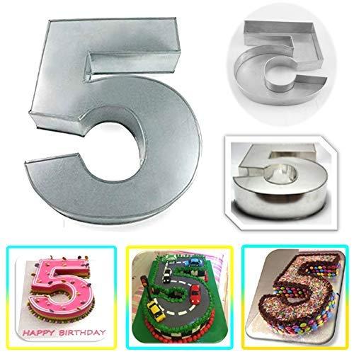 Molde para tartas con número grande de cinco cumpleaños, boda, aniversario, 36 x 10 x 3 cm de profundidad