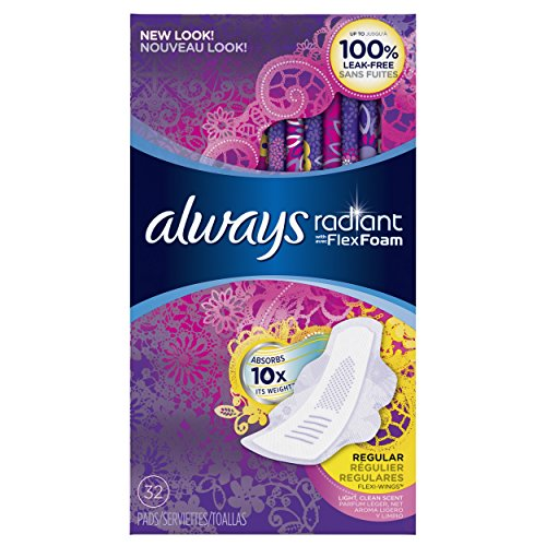 Always Radiant Infinity Regular With Wings Scented Pads 32 Count by Always