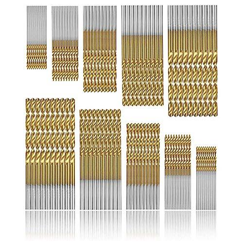 punte per trapano Micro 100 pezzi Set di punte da trapano Punte Metrico HSS ad alta velocit in acciaio Punte in acciaio al titanio da 1/1,5/2 / 2,5 / 3mm Drill Set Strumenti
