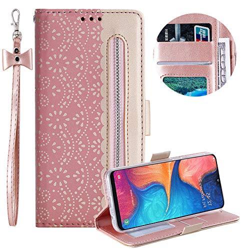 Reißverschluss Brieftasche für Samsung Galaxy A20E,Gurt Wallet Handyhülle für Samsung Galaxy A20E,Moiky Stilvoll Rose Gold Spitze Blume Malerei Klappbar Stand Leder Handytasche