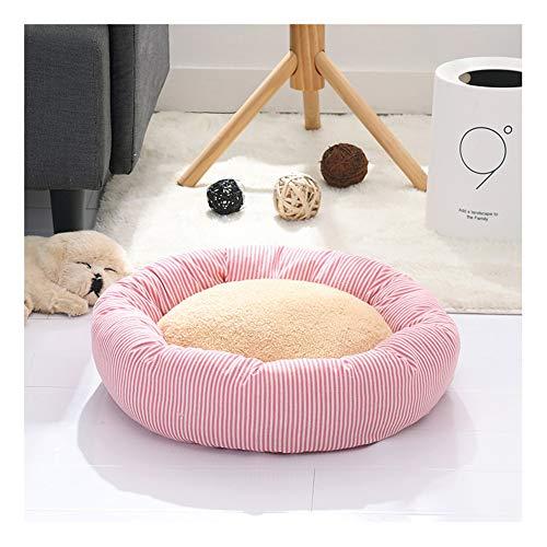 Rond hondenbed, donut hondenzwingerkussen met antislip bodem, knuffelige warmte en wasbaar hondenkussen, hondensofa voor hond en kat Medium roze